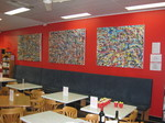 Paintings hanging at the BookCaffe,Swanborne,WA